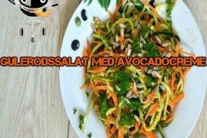 Gulerodssalat skåret i julienne med avokadocreme