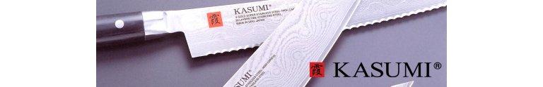 Japanske Kasumi køkkenknive med ståltype V-GOLD-10 og Damaskus mønster i 32 lag rustfrit stål
