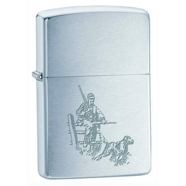 Zippo Lighter Model Hunter And Dog - Zippo Benzin Lighter