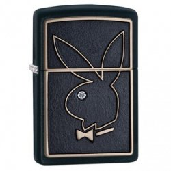 Zippo Lighter Model Playboy Bunny High Polish Chrome Med Pink Krystal - Zippo Playboy Benzin Lighter