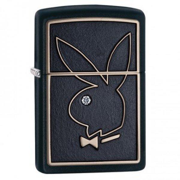 Zippo Lighter Model Playboy Bunny Black Matte - Zippo Playboy Benzin Lighter