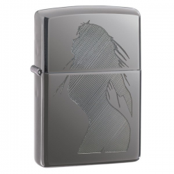 Zippo Lighter Model Satin Chrome - Zippo Benzin Lighter