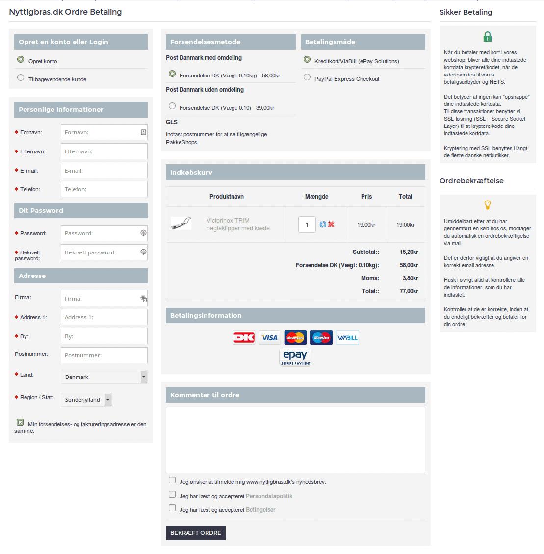 Sikker betaling via SSL kryptering. Demo af ny Check Out side (Ordre betaling) hos Nyttigbras.dk
