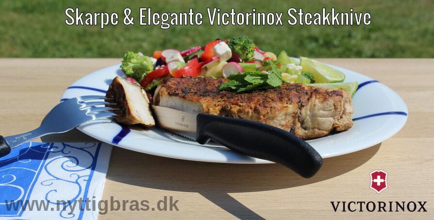 Skarpe Victorinox Steakknive med lækker bøf og salat på tallerken