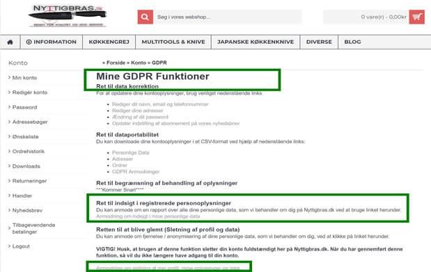 Oversigt over GDPR værktøjer som hver eneste registreret kunde automatisk har på sin konto hos Nyttigbras.dk