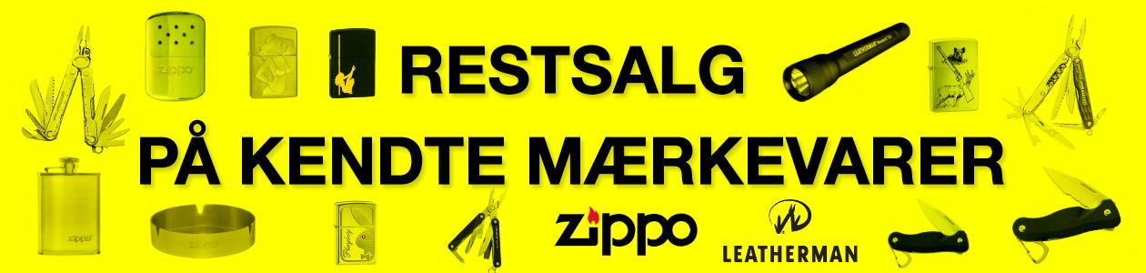 Restsalg af Zippo produkter og Leatherman produkter - Alt skal væk