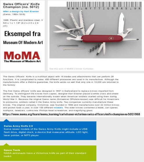 Schweizerkniven på udstilling hos Museum Of Modern Art